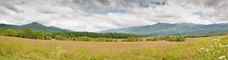 A 3 photo panorama of Cades Cove