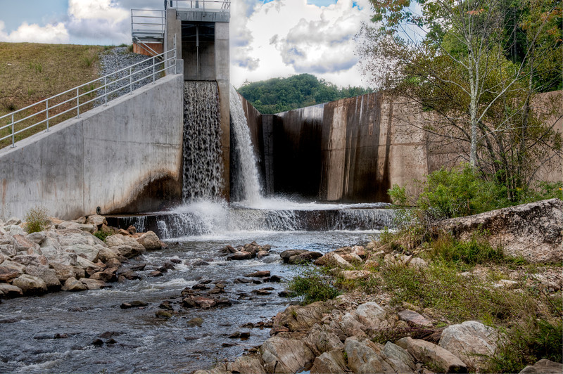 New water dam at Land Harbor in Newland, North Carolina