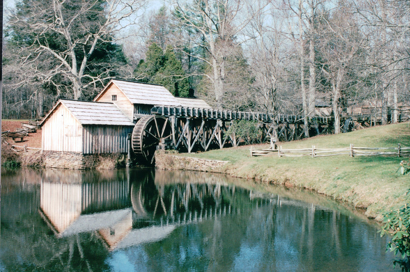 Mabry Mill on Blue Ridge Parkway Milepost 176, VA  11-10-03<br /> Beautiful location that has been photographed and painted many times. Restored gristmill/sawmill/woodworking shop and blacksmith shop. Old time skills (basket weaving, seat caneing, spinning, and weaving) demonstrated. Applebutter making on Sundays in October - Oldtime bluegrass music on Sundays