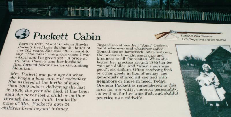 Signage - Puckett Cabin - Blue Ridge Pkwy North of Fancy Gap, Milepost 190, VA  11-10-03