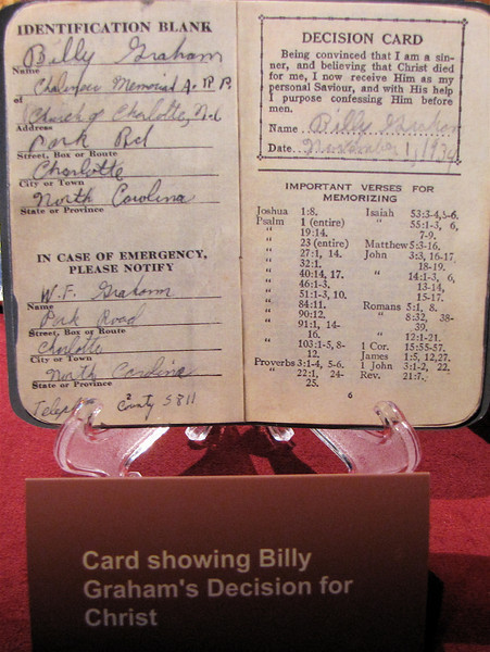 Billy's Decision for Christ on Nov. 1, 1934 - Billy Graham Library - Charlotte, NC  11-26-10