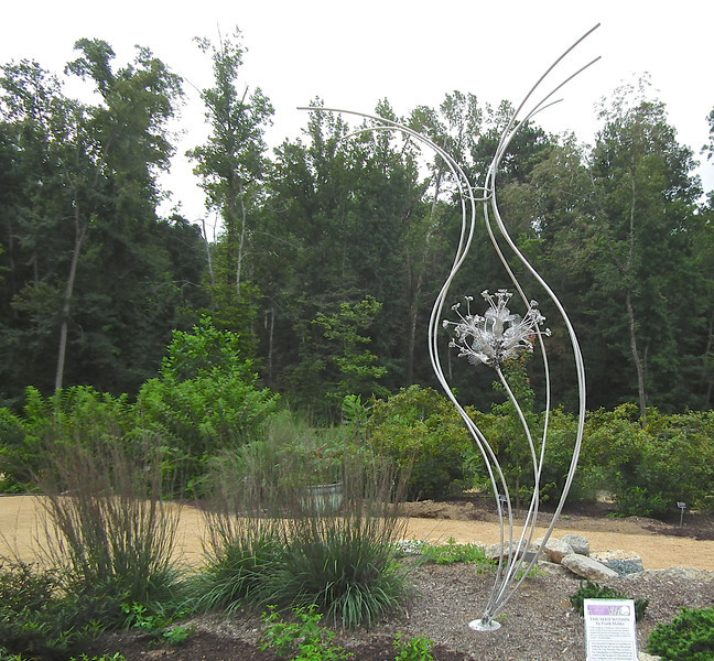 "Sculpture: The Seed Within by Frank Holder - North Carolina Botanical Garden at Univ. of NC at Chapel Hill<br /> ""This sculpture is based on a macro look at a micro world.  If you look at even the smallest seedpod and slowly start peeling it away, you discover within exists the complex structural world.""  Frank Holder"