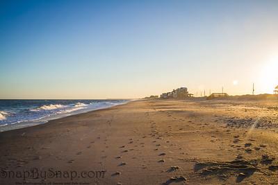Tracks on a Long Empty Beach