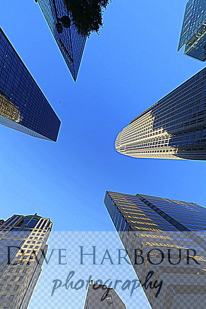 Downtown Skyline from below, Dusk, Photo by Dave Harbour