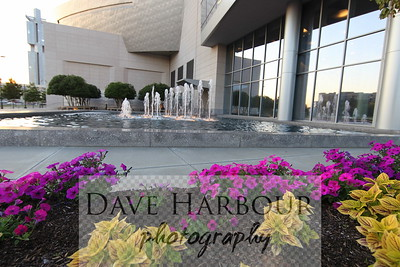 Downtown NASCAR FOUNTAIN AND FLOWERS at Dusk, Charlotte, NC, Photo by Dave Harbour