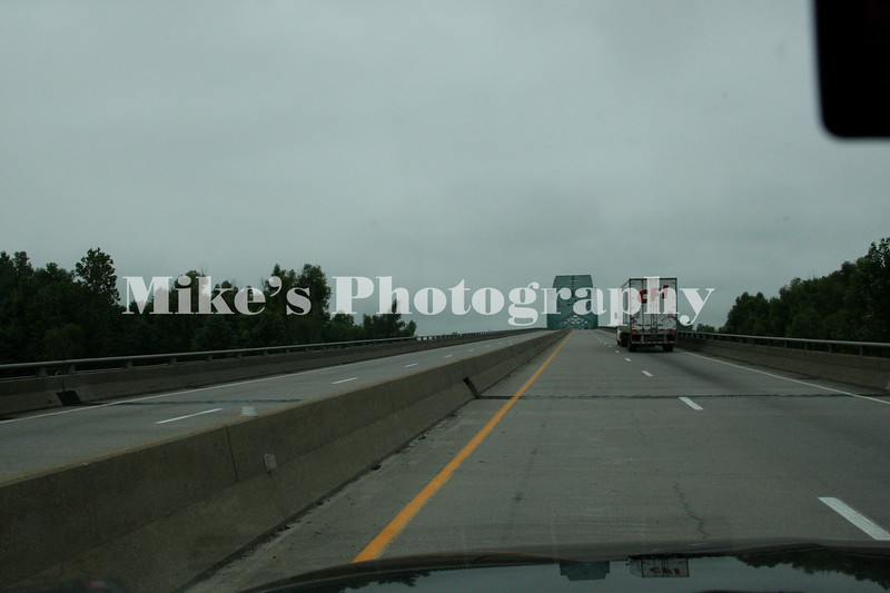 Dark & dreary start to the day in Illinois headed over the bridge to Missouri with lots of rain nearby