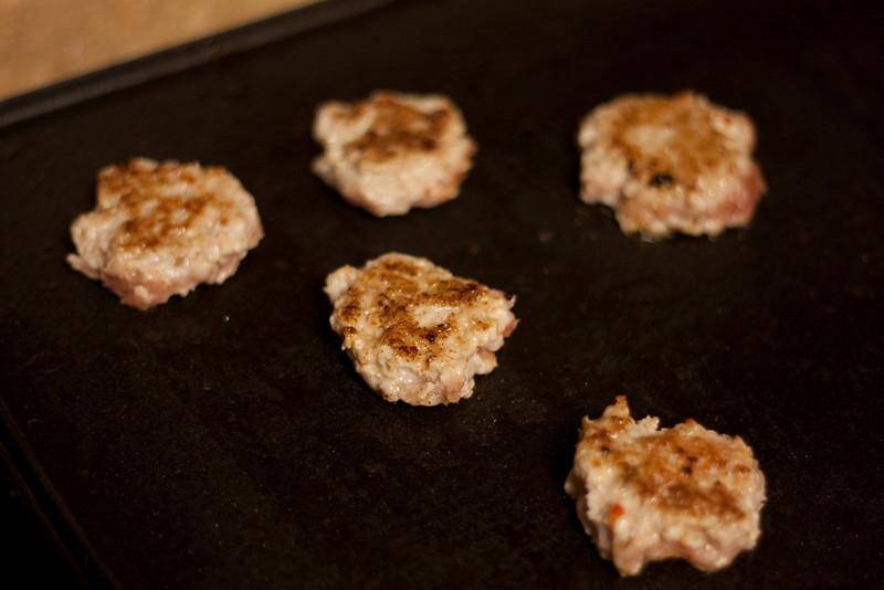 Leftover sausage  Bacon salt + bacon grease + sausage patties