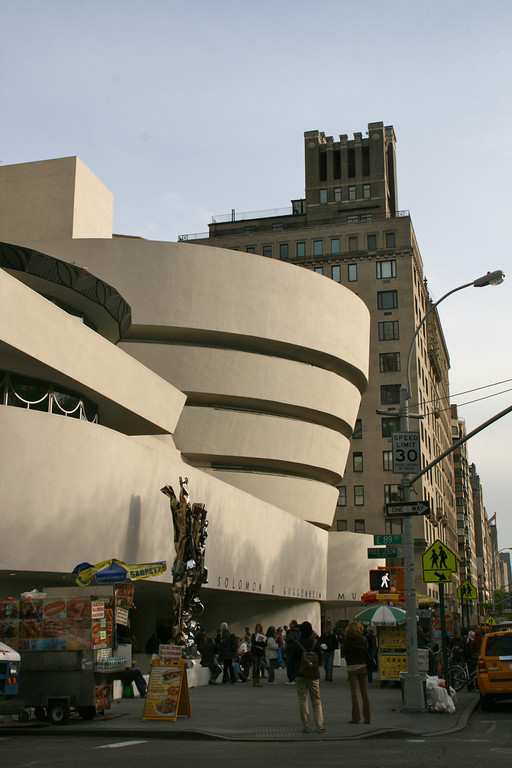 The Guggenheim Museum and street vendors.