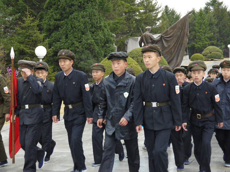 School children going to visit Revolutionary Martyrs' Cemetery, Pyongyang