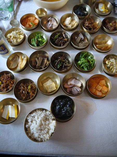 Food as served in Kaesong near the border with South Korea
