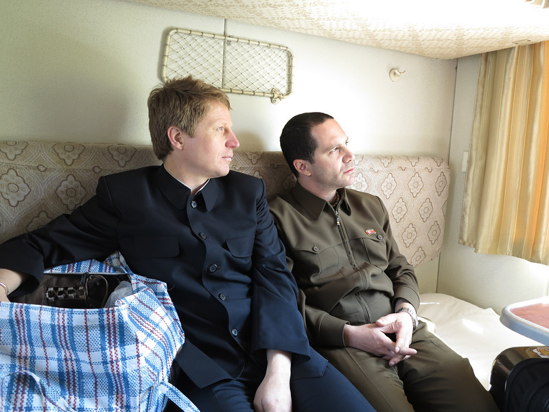 Kim Il Ryan and Gabe Jong Il taking the train from Pyongyang to Dandong