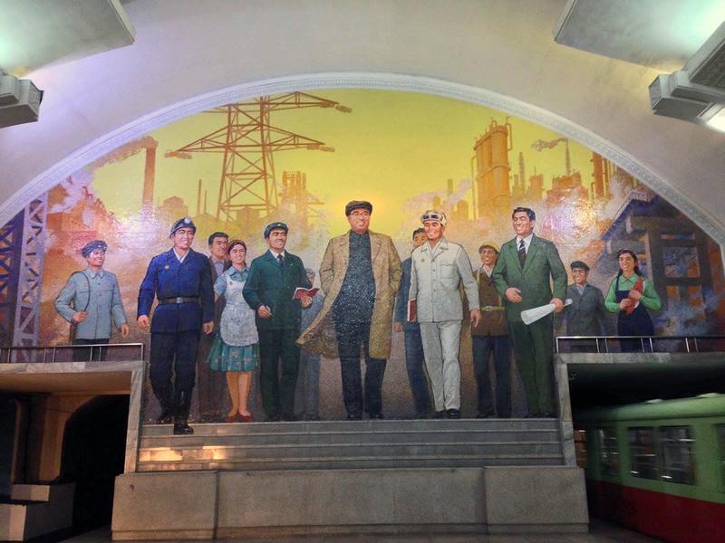 Mosaic in the Pyongyang Metro