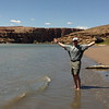 Dipping our toes in the Colorado River, at Lees Ferry. On the way to the North Rim!