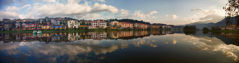 Sapa city lake at sunrise