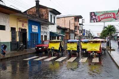 The tuk-tuk have a unique form of protection against the rain