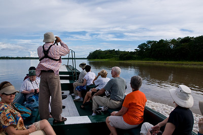 Our first excursion. Ricardo our naturalist (standing) had the uncanny ability to spot birds while moving at about 25mph! It would take us several minute to spot the same bird when the boat stopped and he pointed it out!