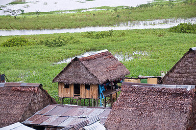 Our first glimpse of the Amazon, and the stilted houses on its banks