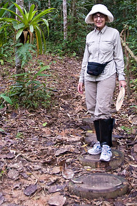 Intrepid tourist, fully equipped. We had to wear the black gaiters/spats to protect against snake bites. They were heavy and sweaty.