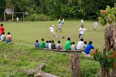 Our crew played an impromptu game of football with the local villagers while the more waterborne of our group went for a swim in the river