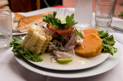 Dinner was ceviche served with the corn with huge kernels