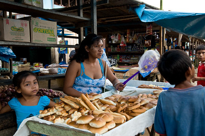 We saw very little bread in the market. On the boat, much of the bread was made with potato flour.