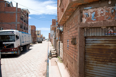 The Peruvian border is reached after winding through the narrow streets of a small town.