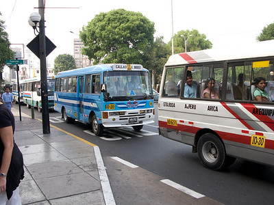 Buses in Lima are privately owned and numerous. They have barkers at the doors calling out the routes - I somehow missed a photograph of them :-(