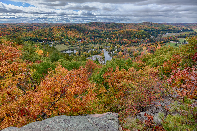 View from Eagle's Nest Hawk Watch. HDR efx balanced. Fall leaves around Bancroft.