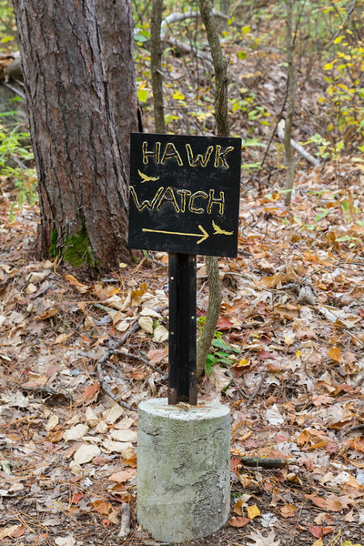 Trail marker at Eagle's Nest pointing to Hawk Watch.