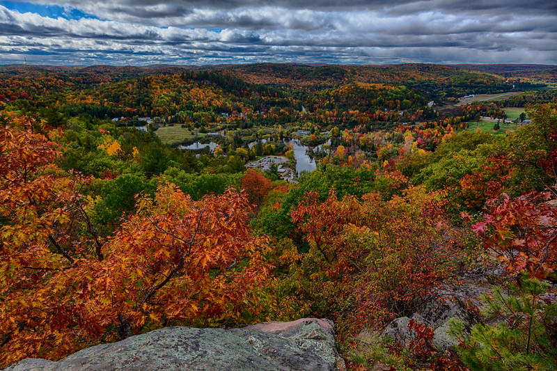 View from Eagle's Nest Hawk Watch. HDR efx dark. Fall leaves around Bancroft.