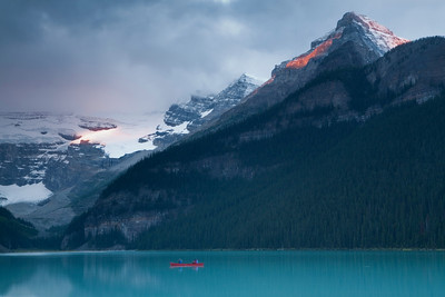 Sunrise at Lake Lousie in Alberta.