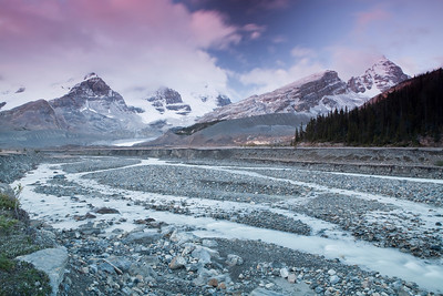 Sunrise at the Columbia Icefields in Banff National Park, Alberta.