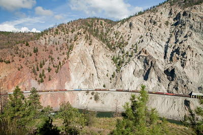 Long trains running through the Fraser River Canyon.