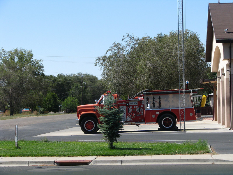The fire station across from where I was refueling has this nice looking old engine in its driveway.