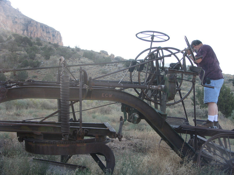 This old time grader was built by the Adams Leaning Wheel Grader Co. It require a tractor to pull it and being to do a hands on was great!