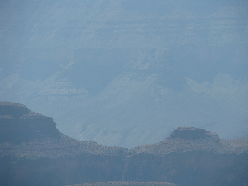 Haze filled the canyon today,found out later that there had been some control burns being done and the smoke gets drawn into the canyon.