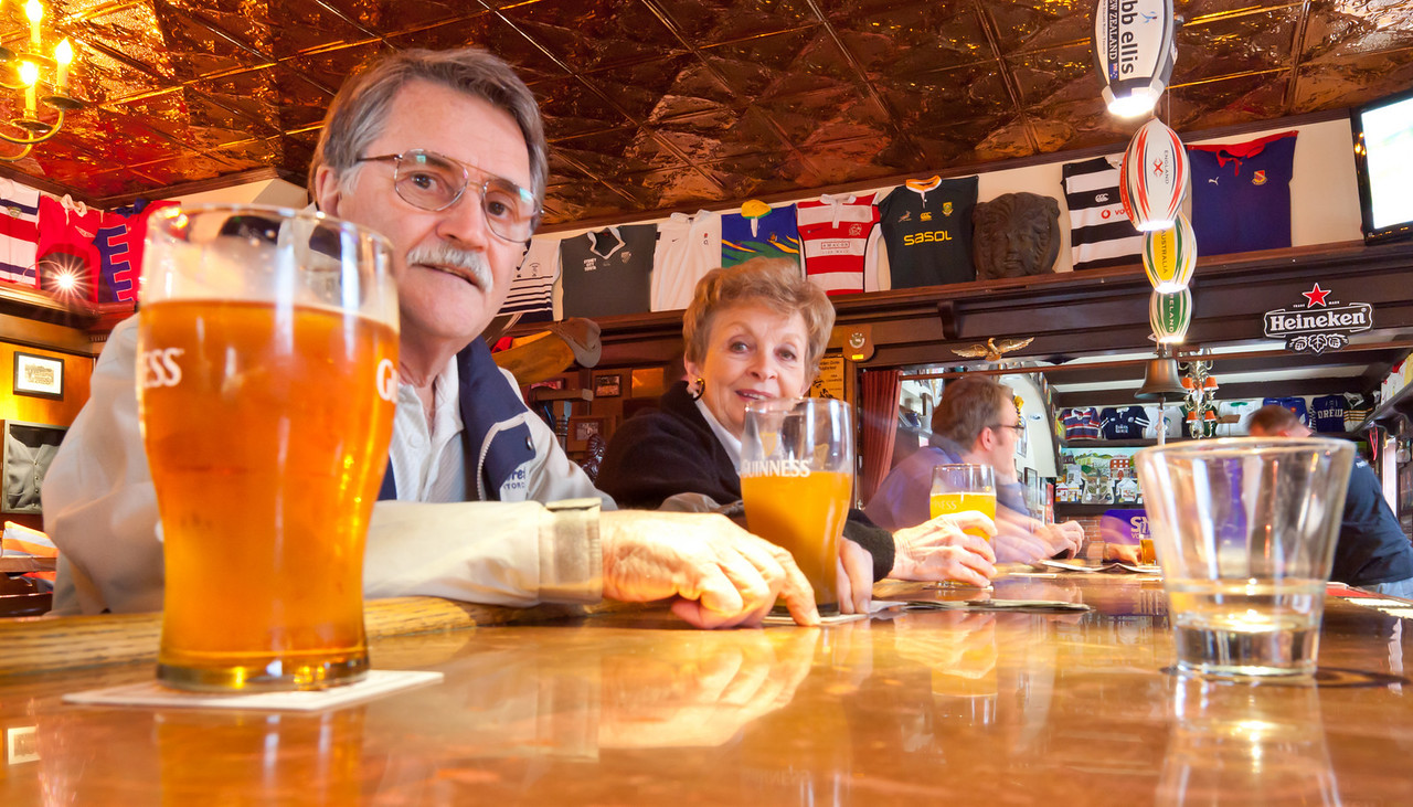"""My parents at the """"Up & Under Pub"""" in downtown Point Richmond"""