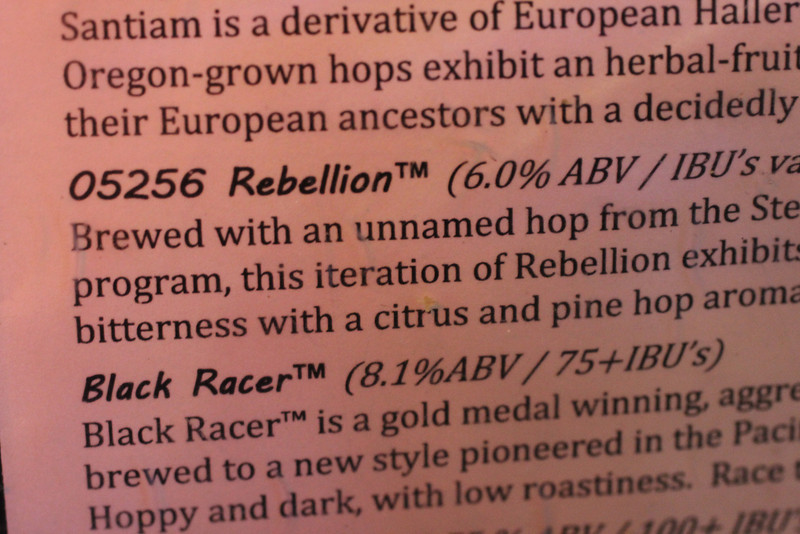 """I liked that this beer at Bear Republic was made from an """"unnamed hop"""" variety."""