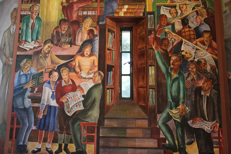 One of the murals inside Coit Tower.