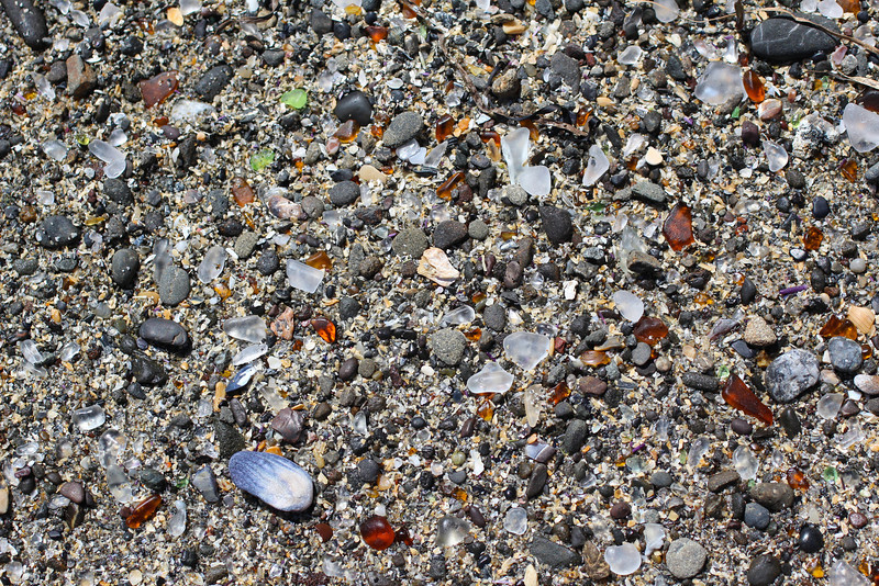 The glass on Glass Beach was at times hard to find, but if you looked hard enough, it was there!