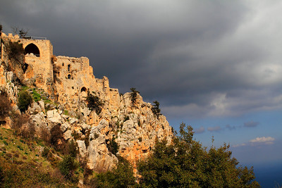 St.Hillerion Castle in Decemeber under rain clouds, Kyrenia, Northern Cyprus