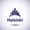 Helsinki City skyline silhouette. Vector illustration. Simple flat concept for tourism presentation, banner, placard or web site. Business travel concept. Cityscape with landmarks