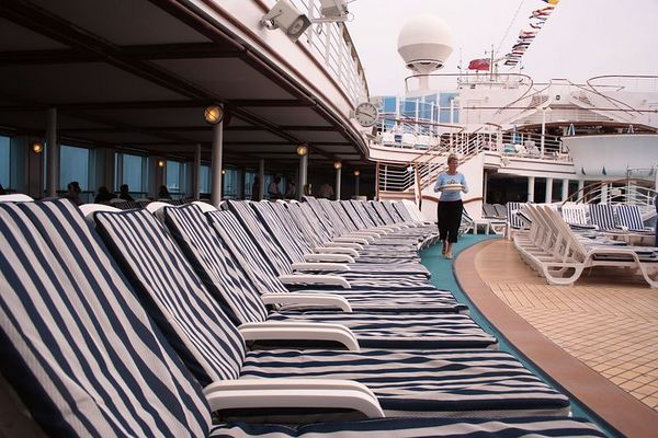 Deck chairs around the pool - as you can see, the ship is not at all crowded. This is a repositioning cruise and right at the change of seasons. When it reaches the Baltic area this ship will begin it's summer cruises in the Baltic.