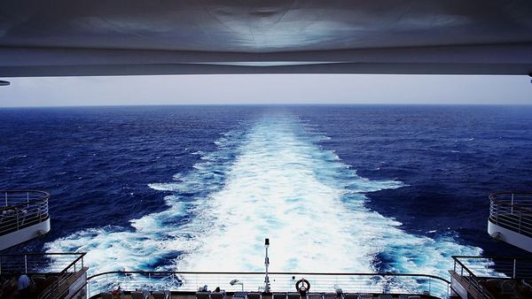The view of the sea from the aft deck - we're looking right over one of the swimming pools.
