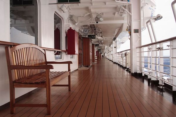 There is plenty of room for walking around the decks. This is the lifeboat deck.