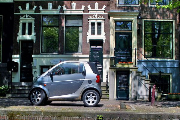 I had to get a picture of this tiny car parked along the canal.