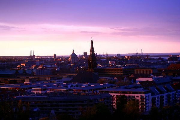 A sunset view of the city of Copenhagen
