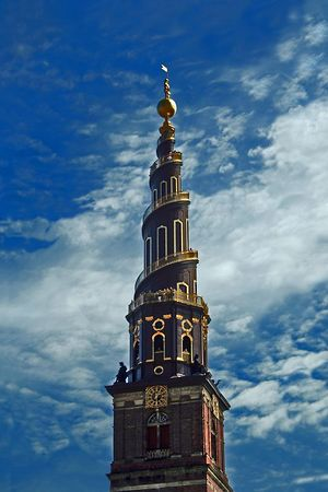 The tower of the Church of Our Savior in Copenhagen, Denmark.