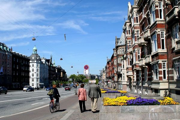 Colorful flowers are planted along the streets in Copenhagen.