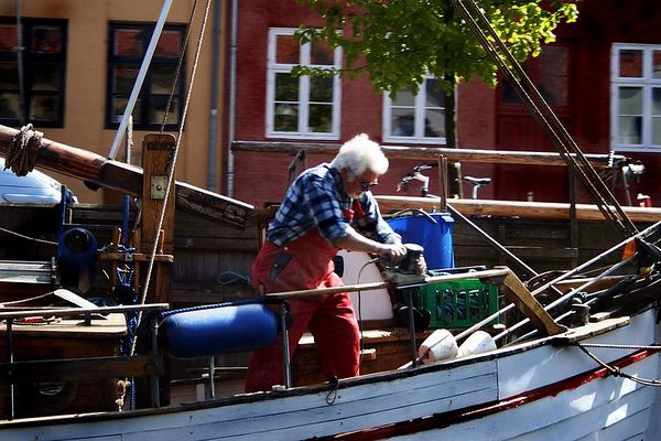 We passed the gentleman repairing his boat as we traversed the canal in Copenhagen.